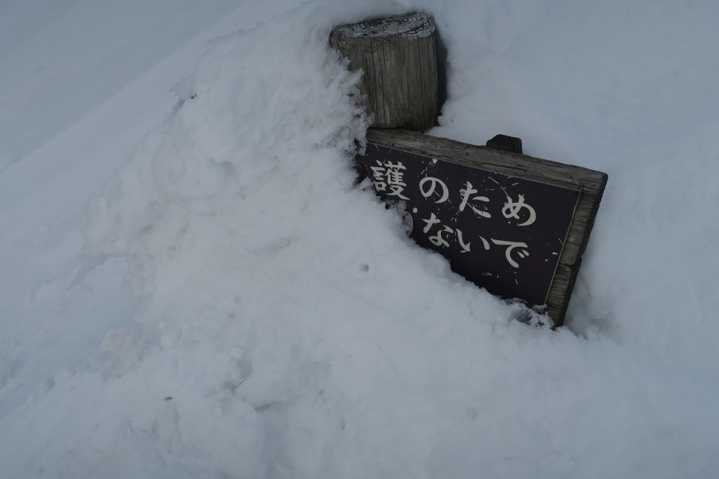 雪に埋もれた標識
